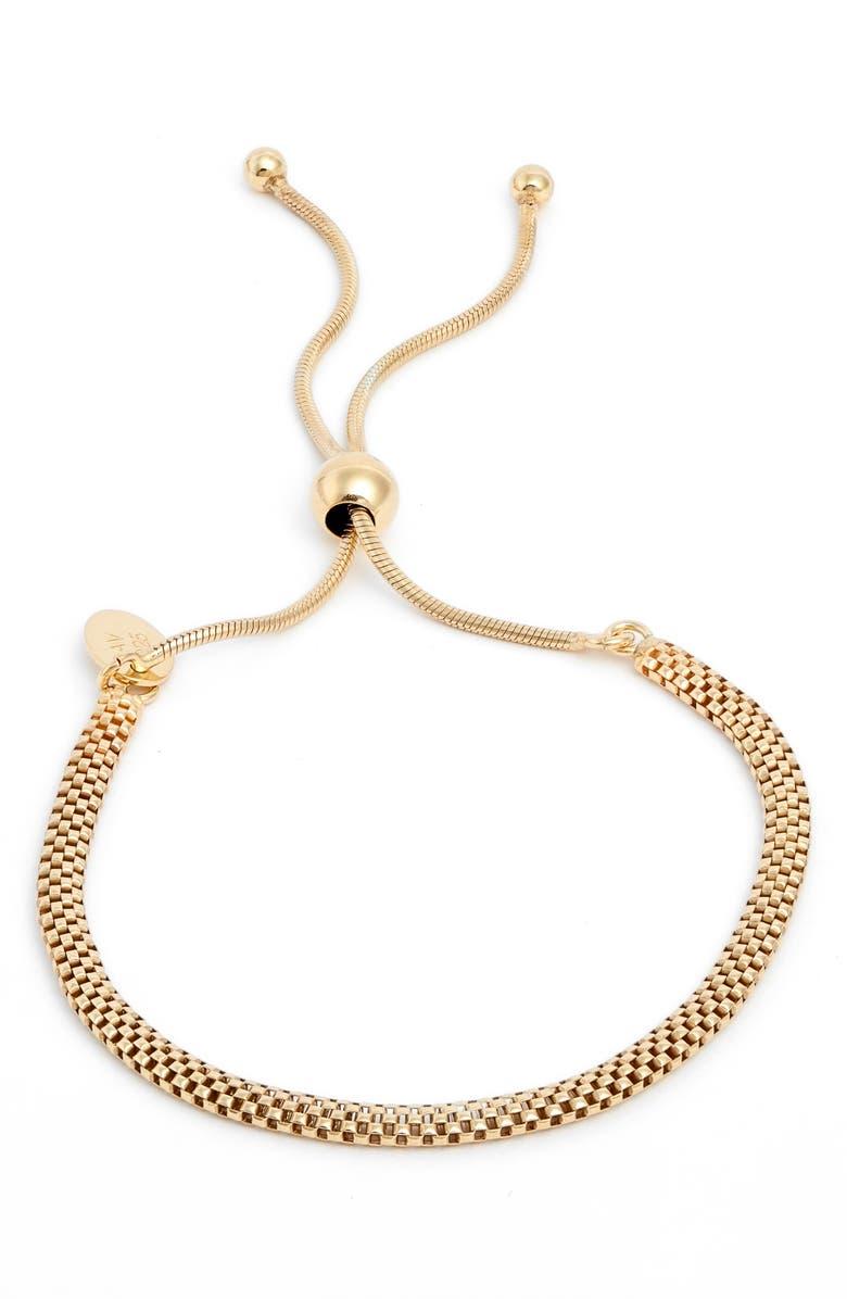 ARGENTO VIVO STERLING SILVER Argento Vivo Mesh Slider Bracelet, Main, color, GOLD