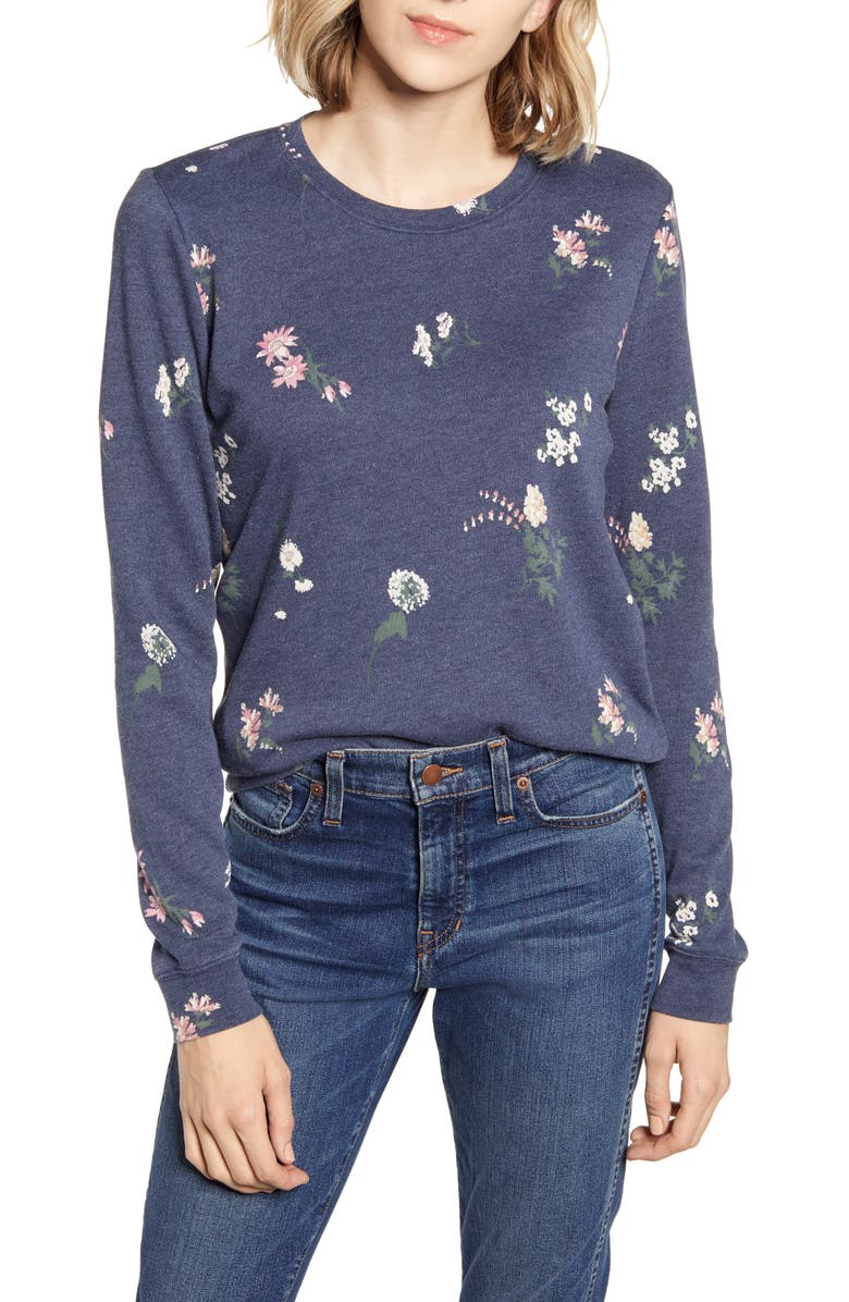 LUCKY BRAND Tossed Floral Sweatshirt, Main, color, 410