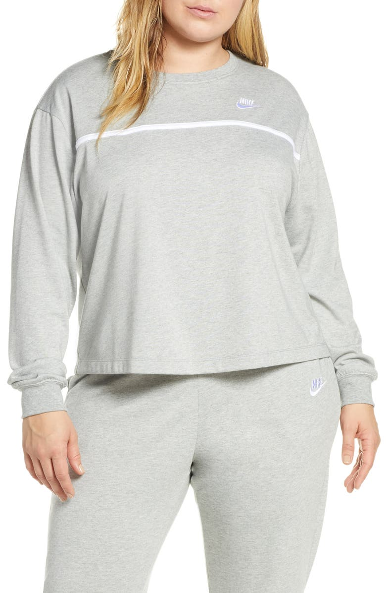 NIKE Sportswear Crewneck Sweatshirt, Main, color, GREY HEATHER/ SILVER/ WHITE
