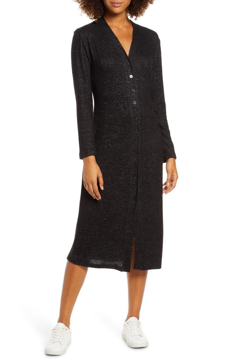 FRAICHE BY J Button Front Midi Dress, Main, color, BLACK