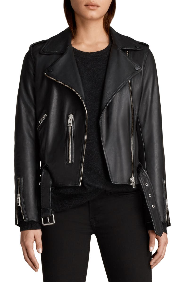 ALLSAINTS Balfern Leather Biker Jacket, Main, color, BLACK