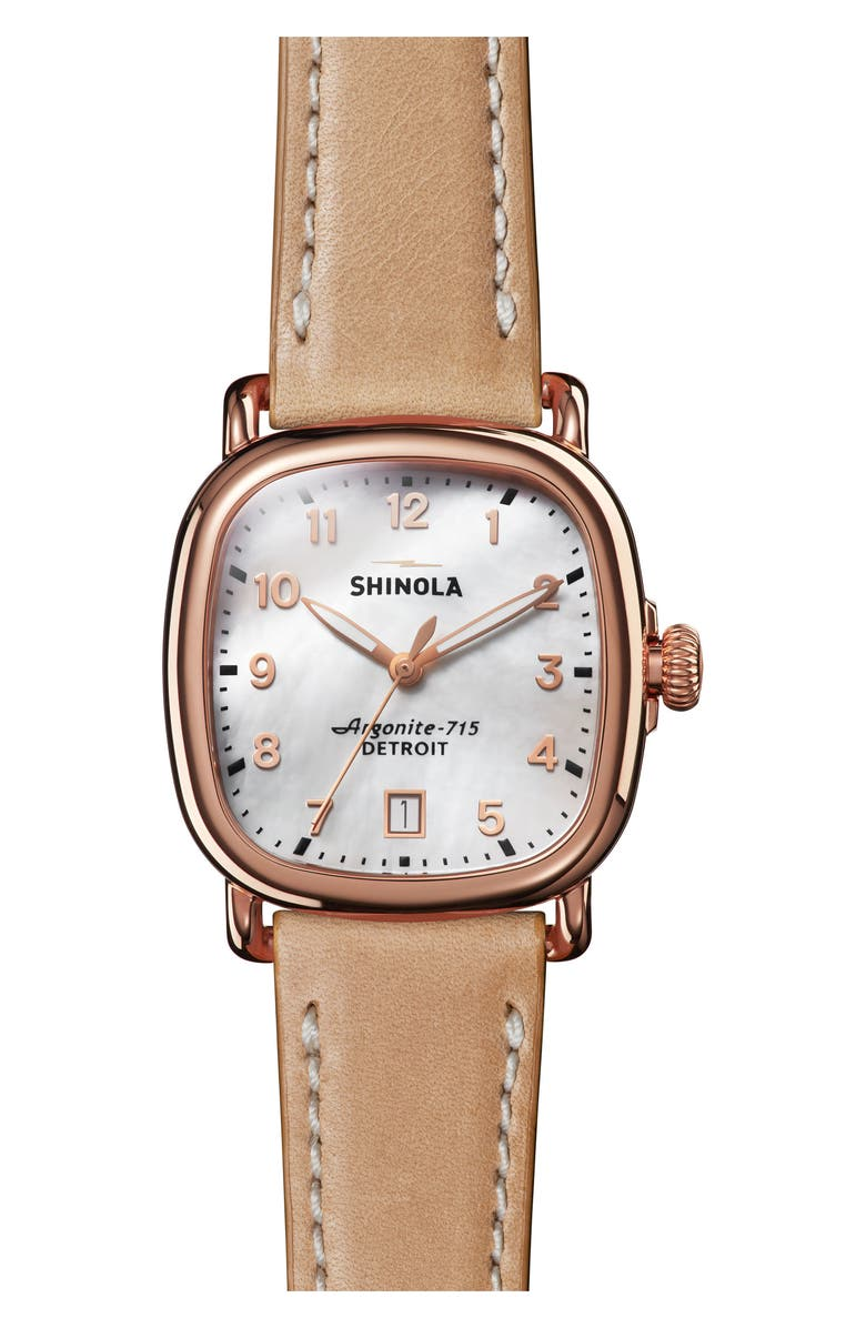 SHINOLA The Guardian Leather Strap Watch, 36mm, Main, color, NATURAL/ MOP/ ROSE GOLD