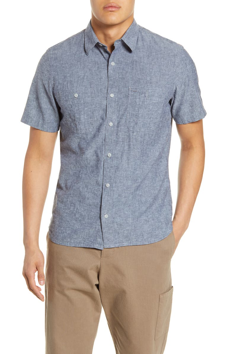 1901 Short Sleeve Linen Blend Chambray Button-Up Shirt, Main, color, 401
