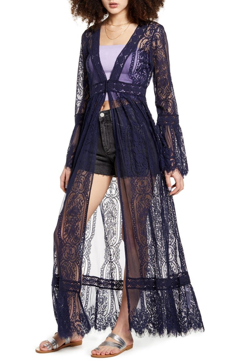 BAND OF GYPSIES Bell Sleeve Lace Duster, Main, color, 400