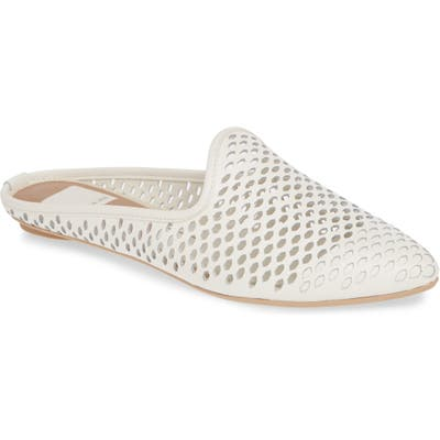 Dolce Vita Grant Perforated Loafer Mule- White