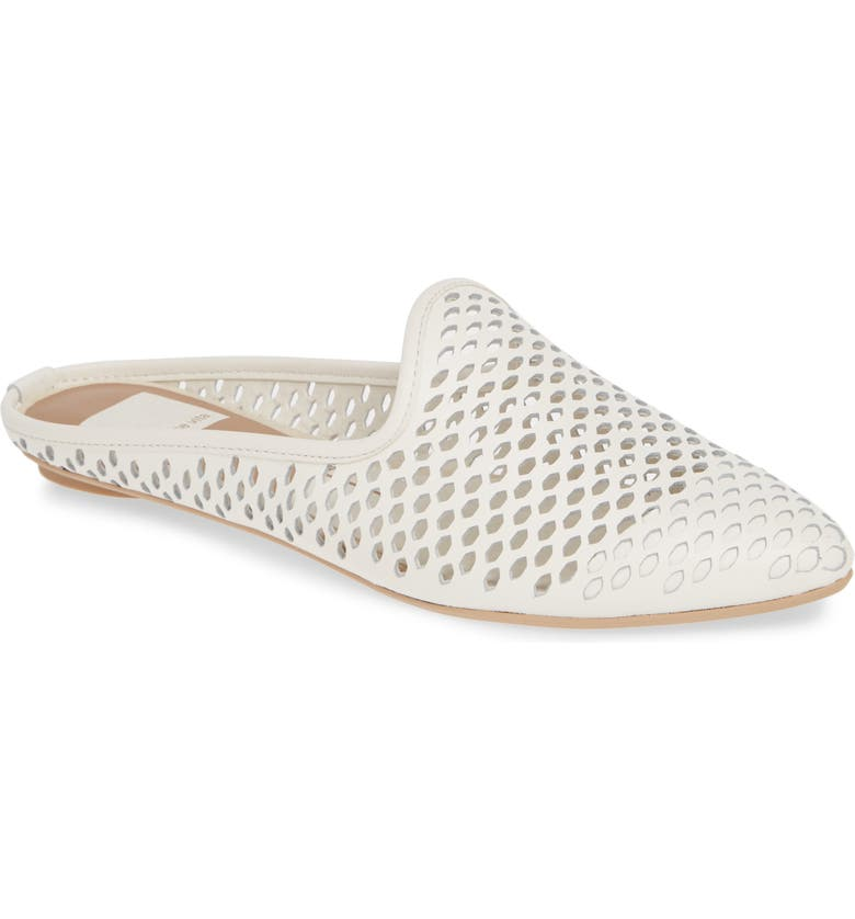 DOLCE VITA Grant Perforated Loafer Mule, Main, color, WHITE LEATHER