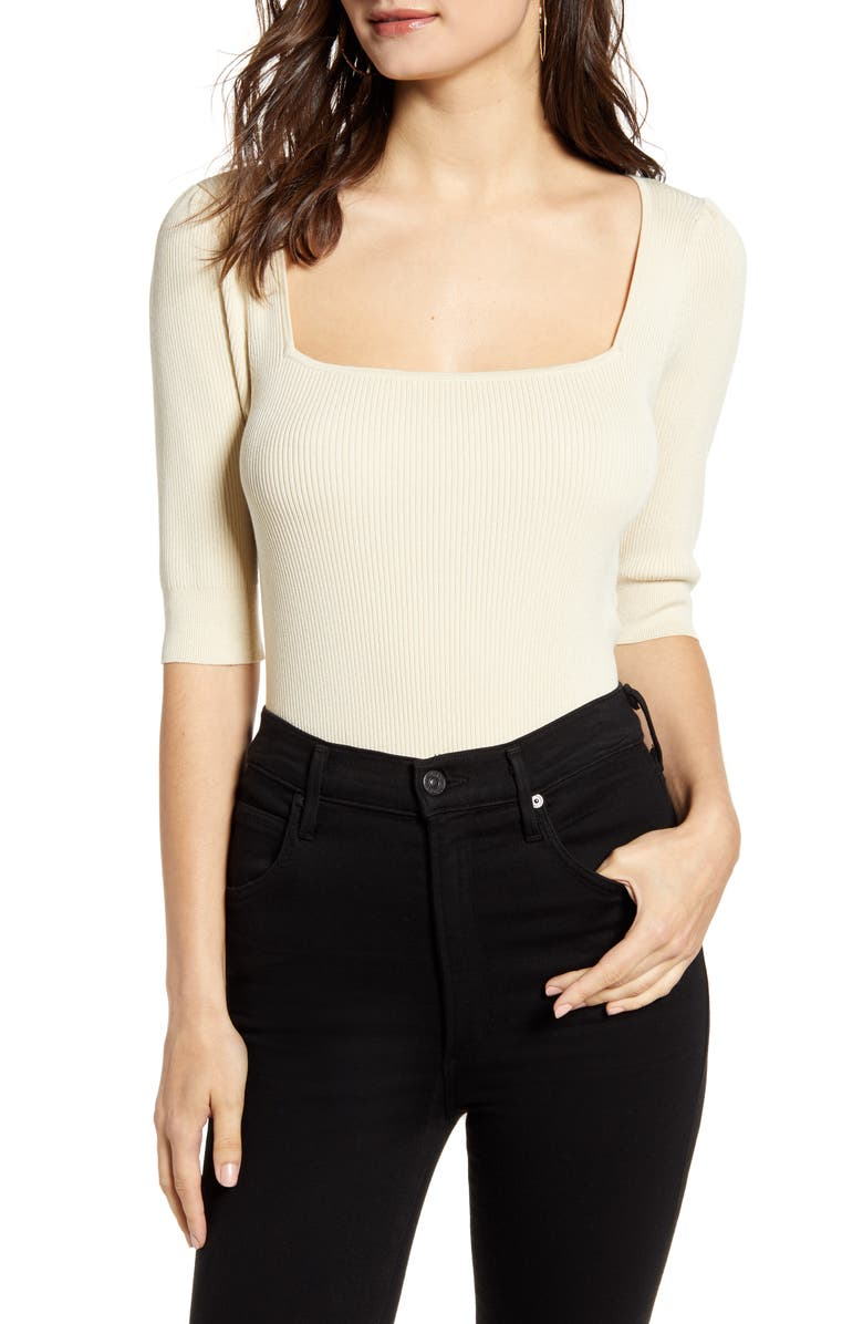 LEITH Square Neck Sweater, Main, color, BEIGE ANGORA