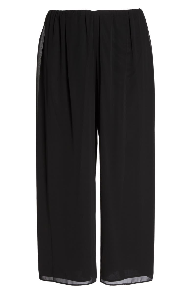 ALEX EVENINGS High Rise Chiffon Palazzo Pants, Main, color, BLACK