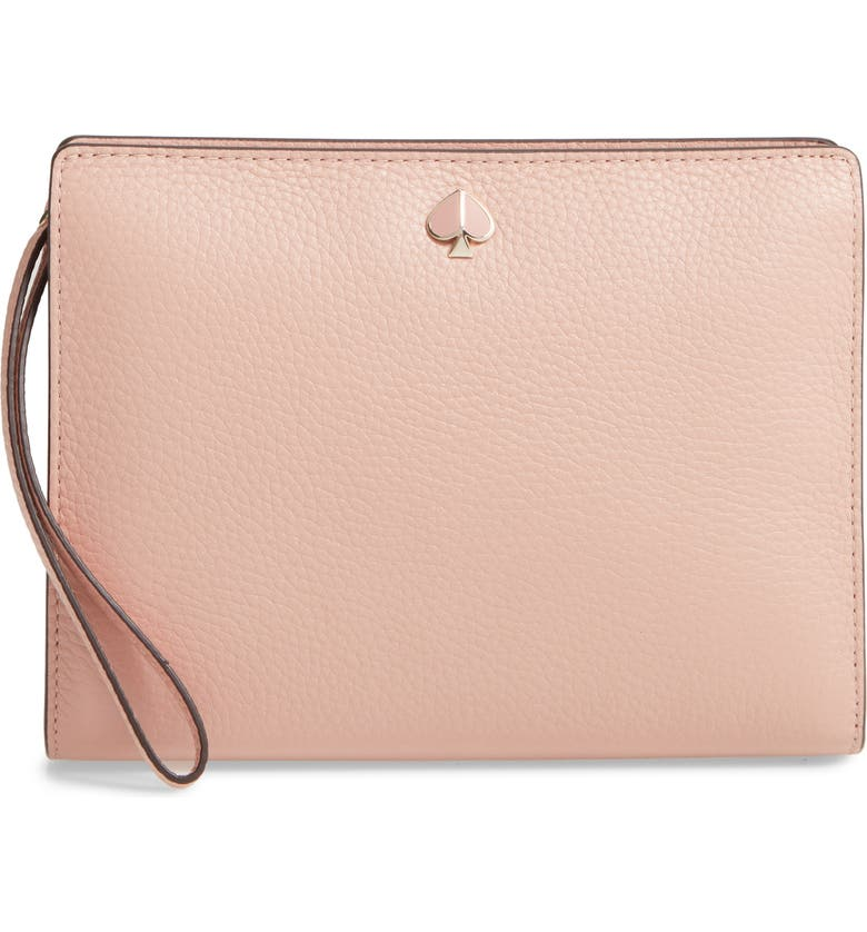 KATE SPADE NEW YORK medium polly leather wristlet, Main, color, FLAPPER PINK