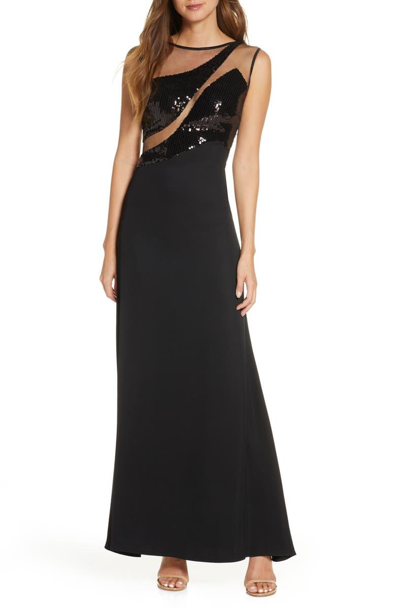 SHO Sequin Mesh Cutout Gown, Main, color, 001