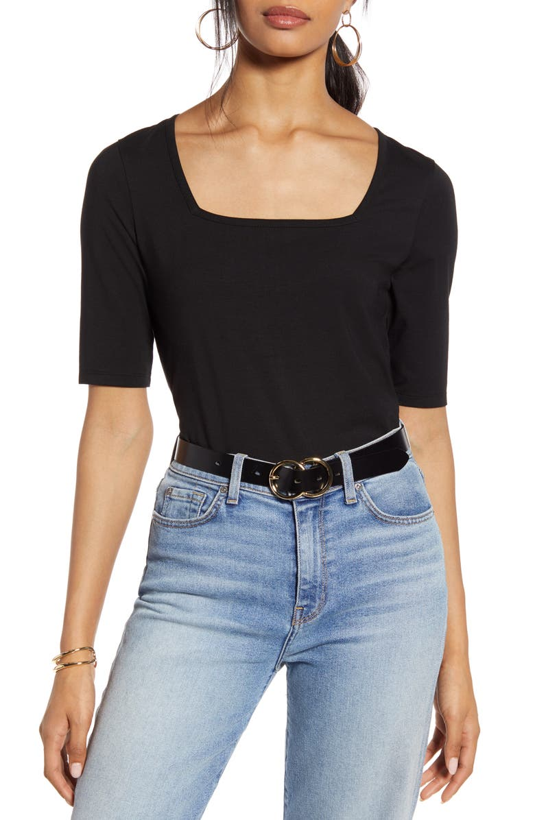 HALOGEN<SUP>®</SUP> Square Neck Knit Top, Main, color, BLACK- WHITE JULIETTE STRIPE