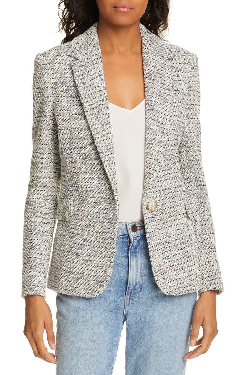 HELENE BERMAN Single Button Tweed Blazer, Main, color, 400