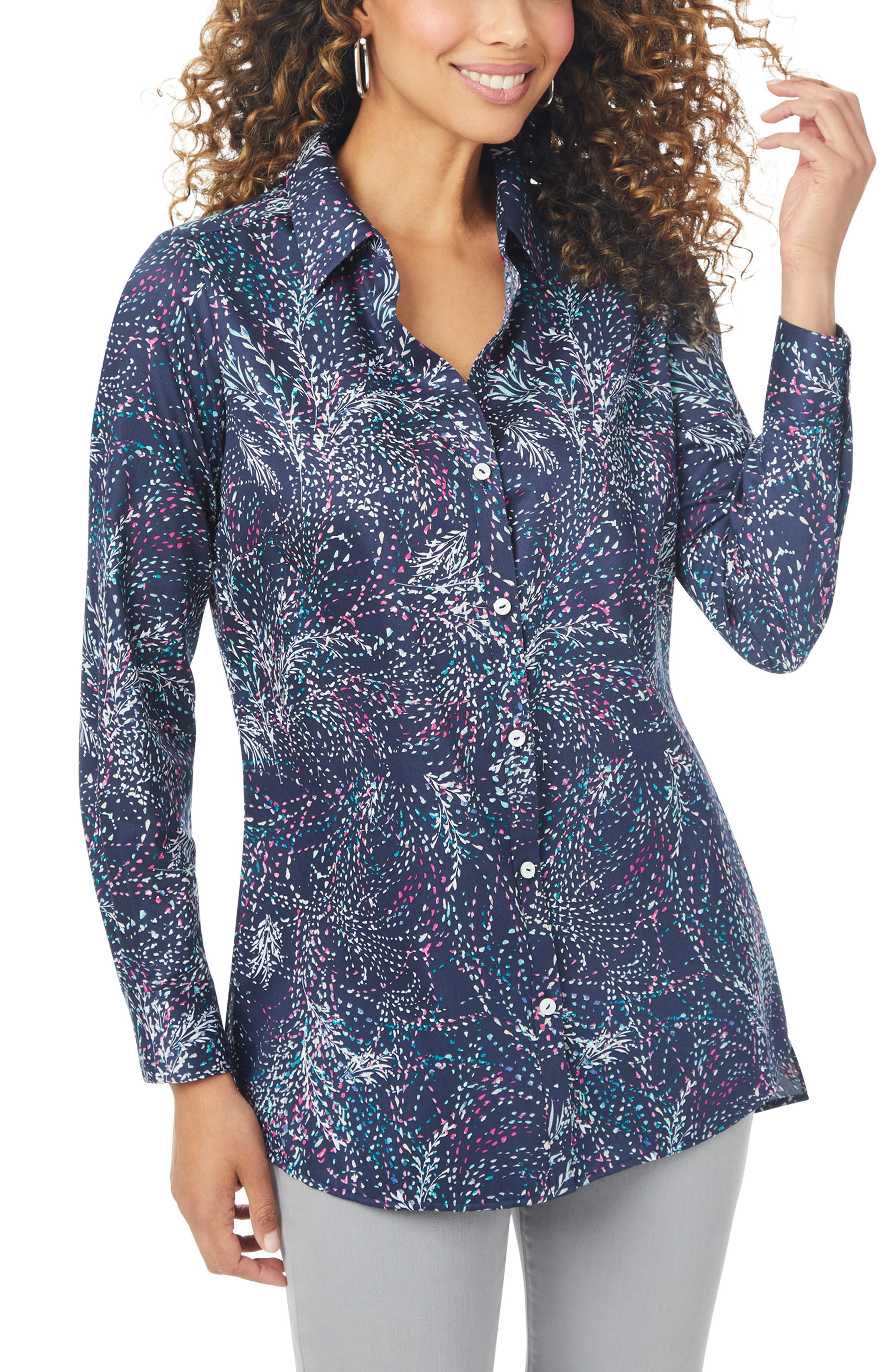 Isadora Swirling Leaves Non-Iron Cotton Tunic