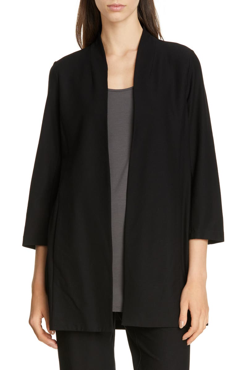EILEEN FISHER Collarless Long Jacket, Main, color, 001