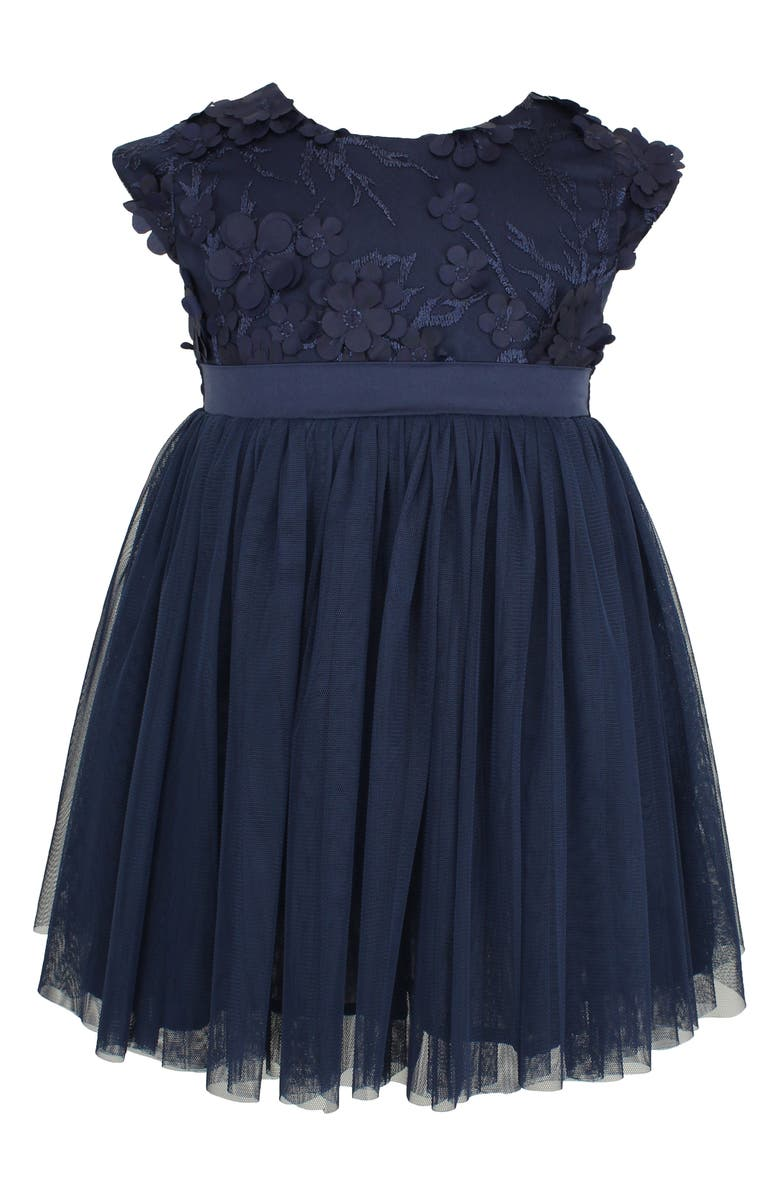 POPATU Floral Appliqué Tulle Dress, Main, color, NAVY