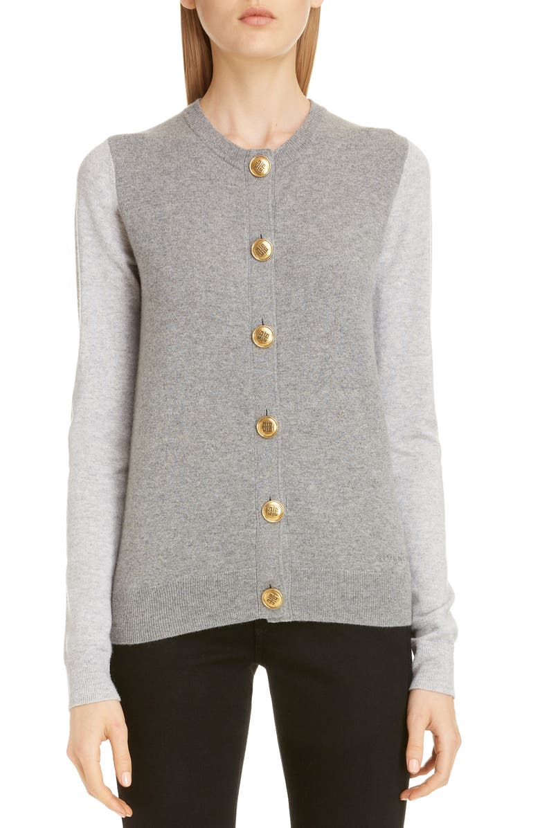 GIVENCHY Bicolor Cashmere Cardigan, Main, color, GRAY
