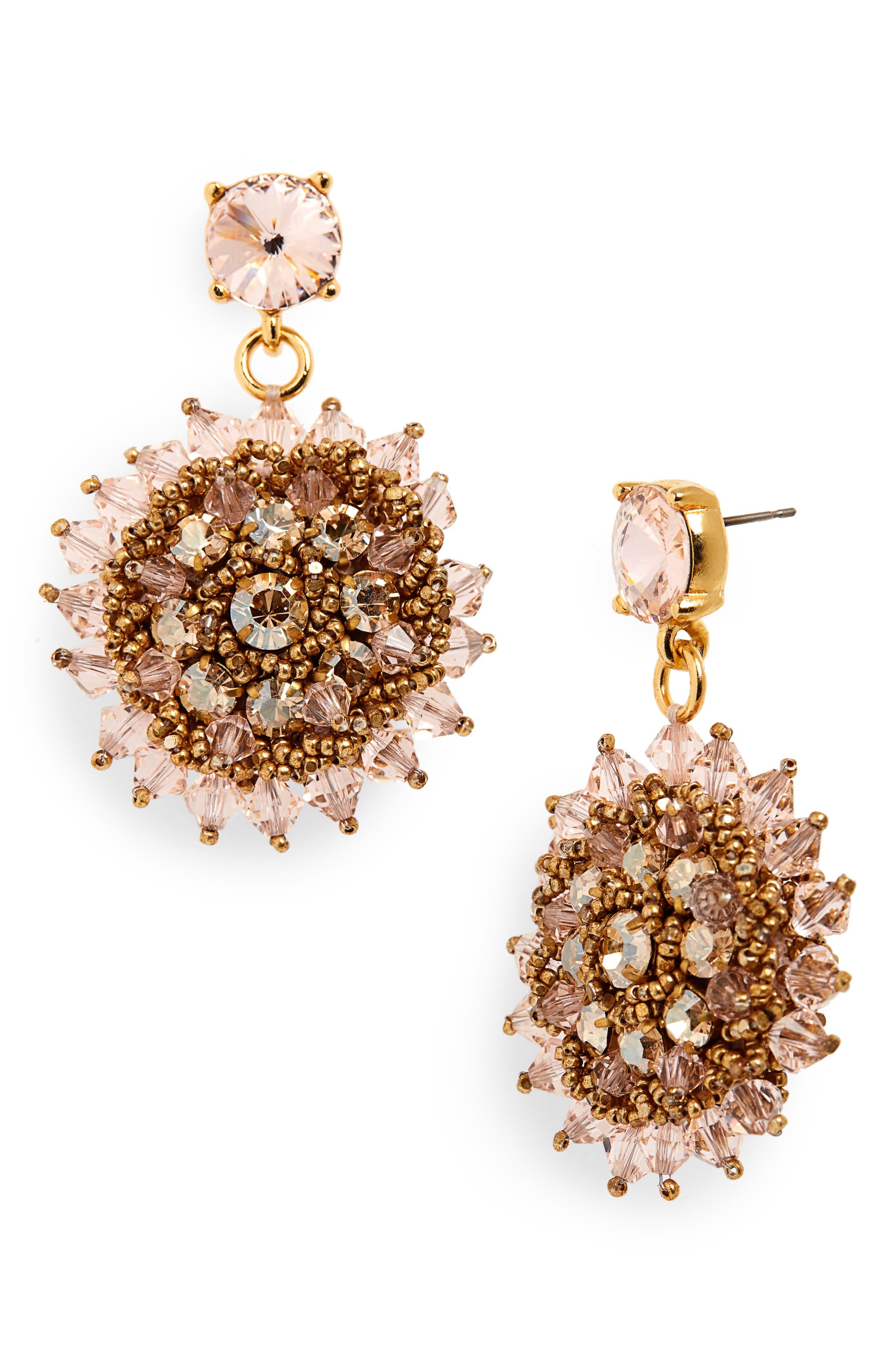,                             Beaded Crystal Drop Earrings,                             Main thumbnail 1, color,                             CRYSTAL GOLD SHADOW
