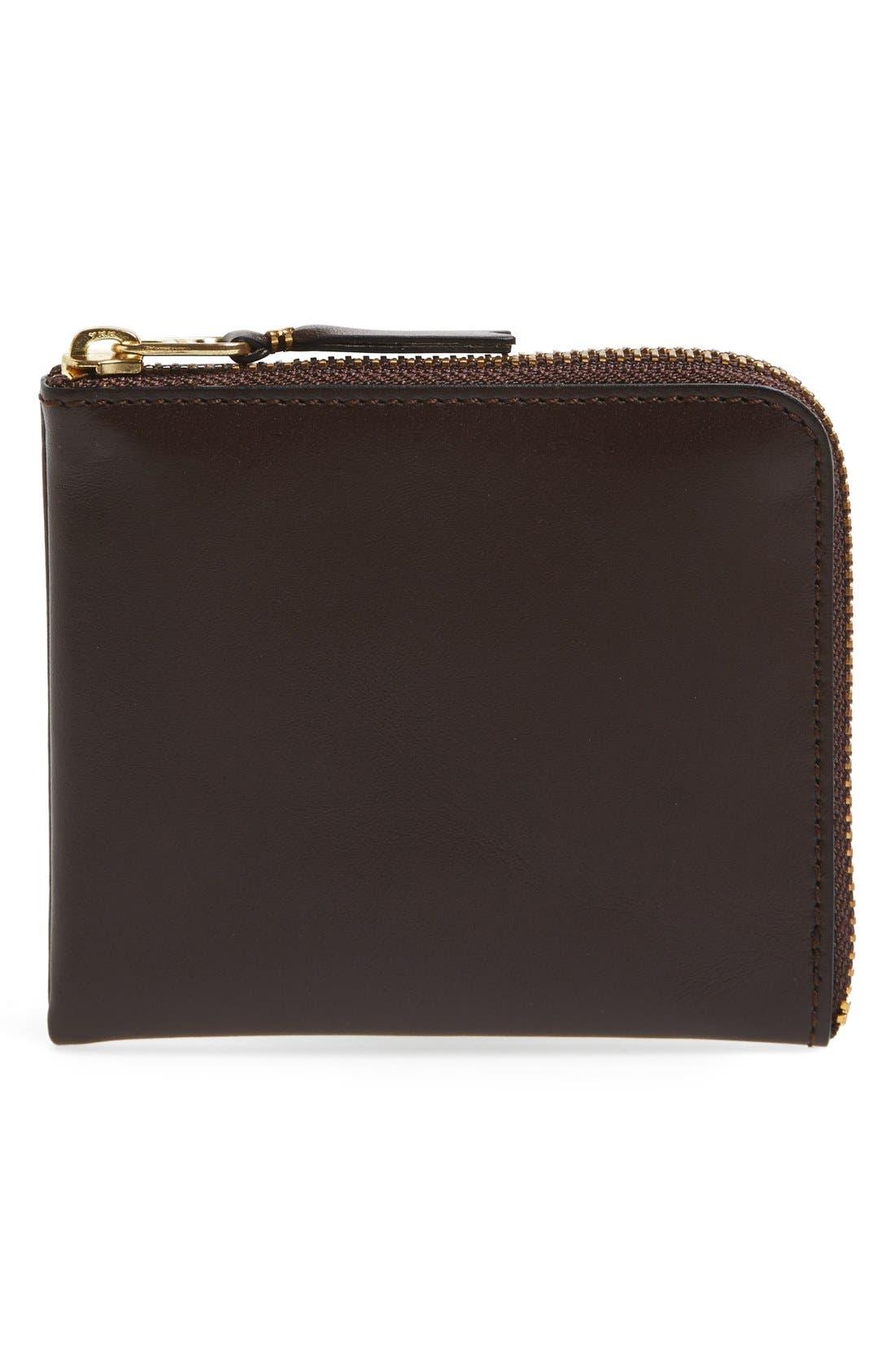 ,                             Half-Zip Leather Wallet,                             Main thumbnail 7, color,                             200