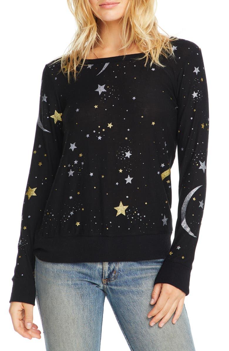 CHASER Cozy Moon & Stars Sweatshirt, Main, color, 001