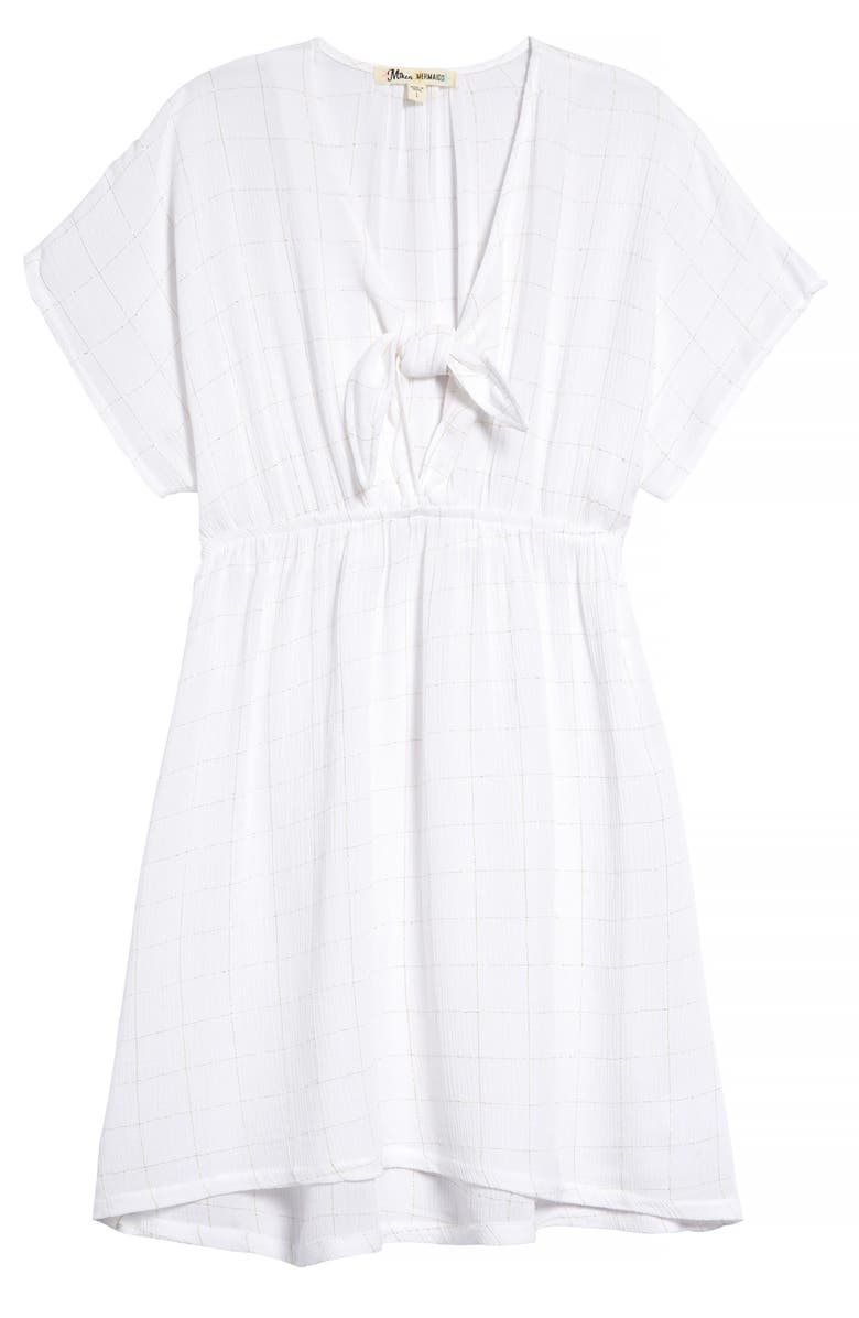 MIKEN SWIM Front Tie Cover-Up Dress, Main, color, WHITE