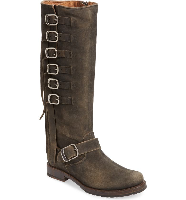 FRYE Veronica Knee High Boot, Main, color, FADED BLACK SUEDE