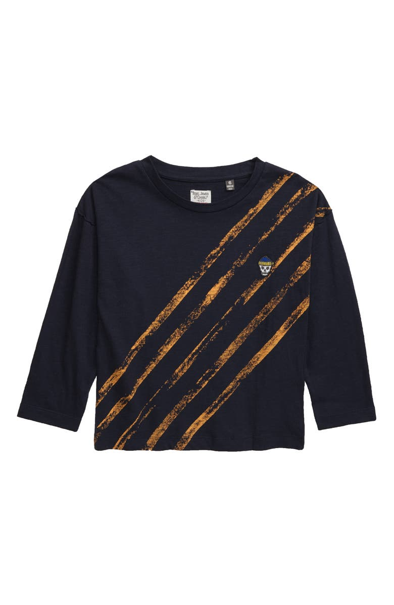 REBEL JAMES & CHARLI Bias Stripe Long Sleeve T-Shirt, Main, color, 410