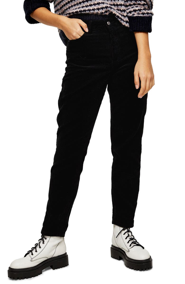 TOPSHOP Corduroy Mom Jeans, Main, color, 001