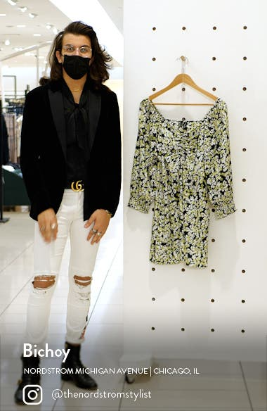 Chaddie Floral Long Sleeve Ruched Minidress, sales video thumbnail