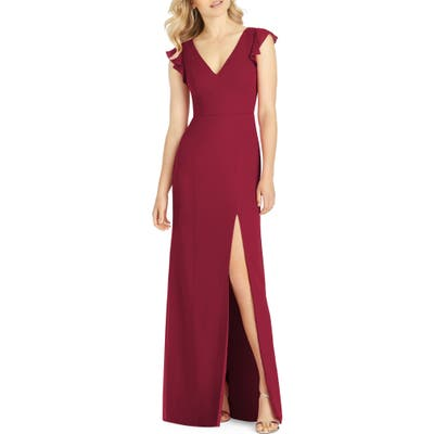 After Six V-Neck Ruffle Sleeve Evening Dress, Burgundy