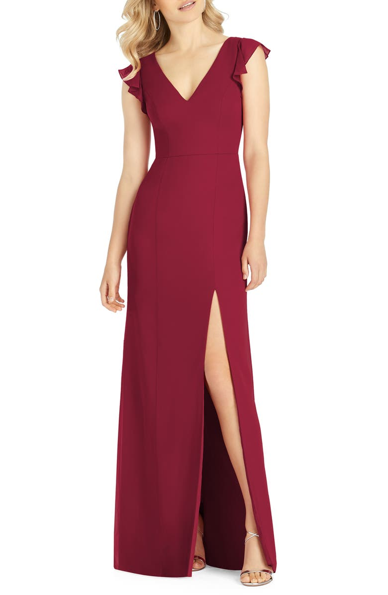 AFTER SIX V-Neck Ruffle Sleeve Column Gown, Main, color, BURGUNDY