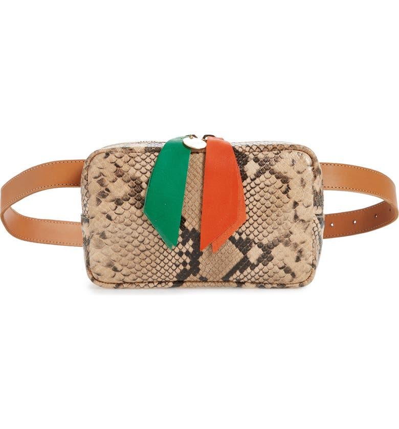 CLARE V. Le Belt Snakeskin Embossed Leather Belt Bag, Main, color, 001