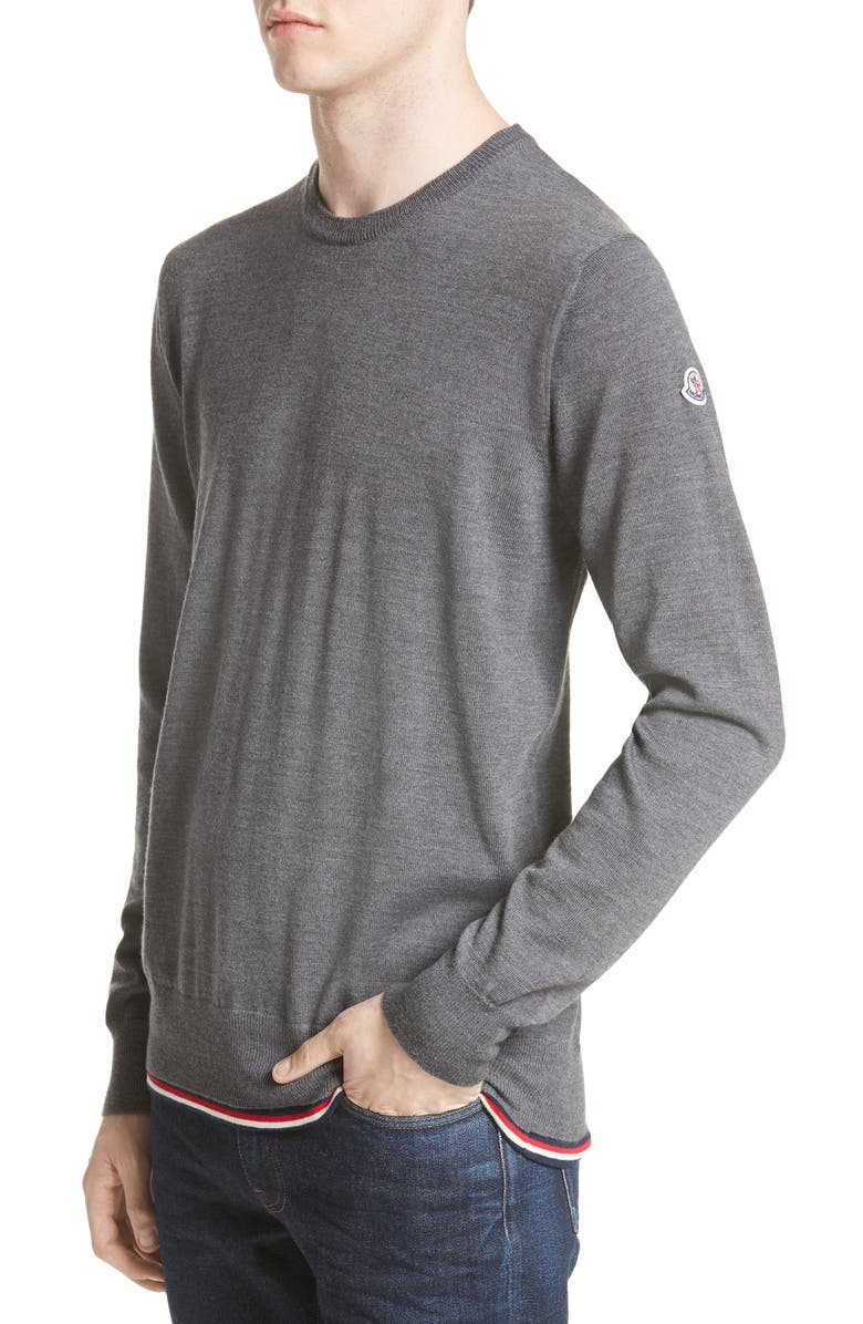 MONCLER Maglione Tipped Wool Sweater, Main, color, 030