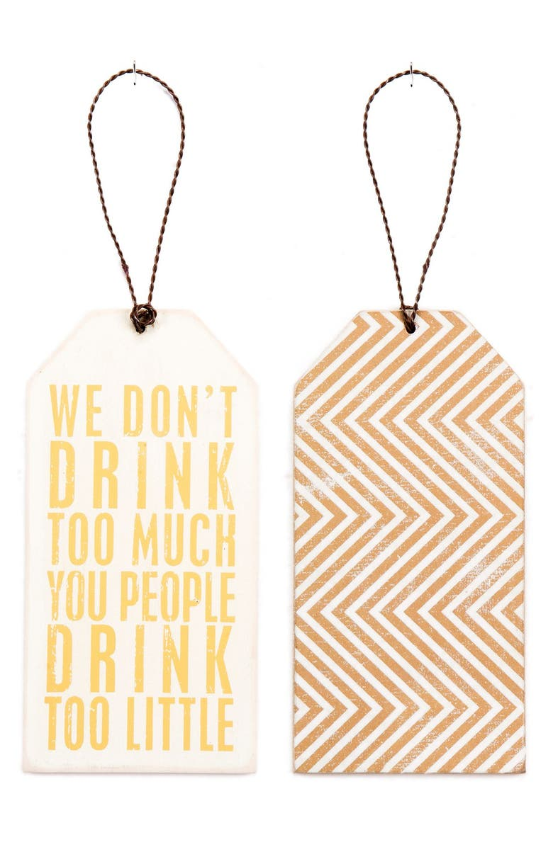 PRIMITIVES BY KATHY 'Drink Too Little' Wine Bottle Tag, Main, color, 200