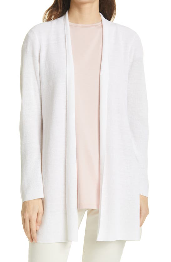 Eileen Fisher Organic Linen & Cotton Cardigan In White