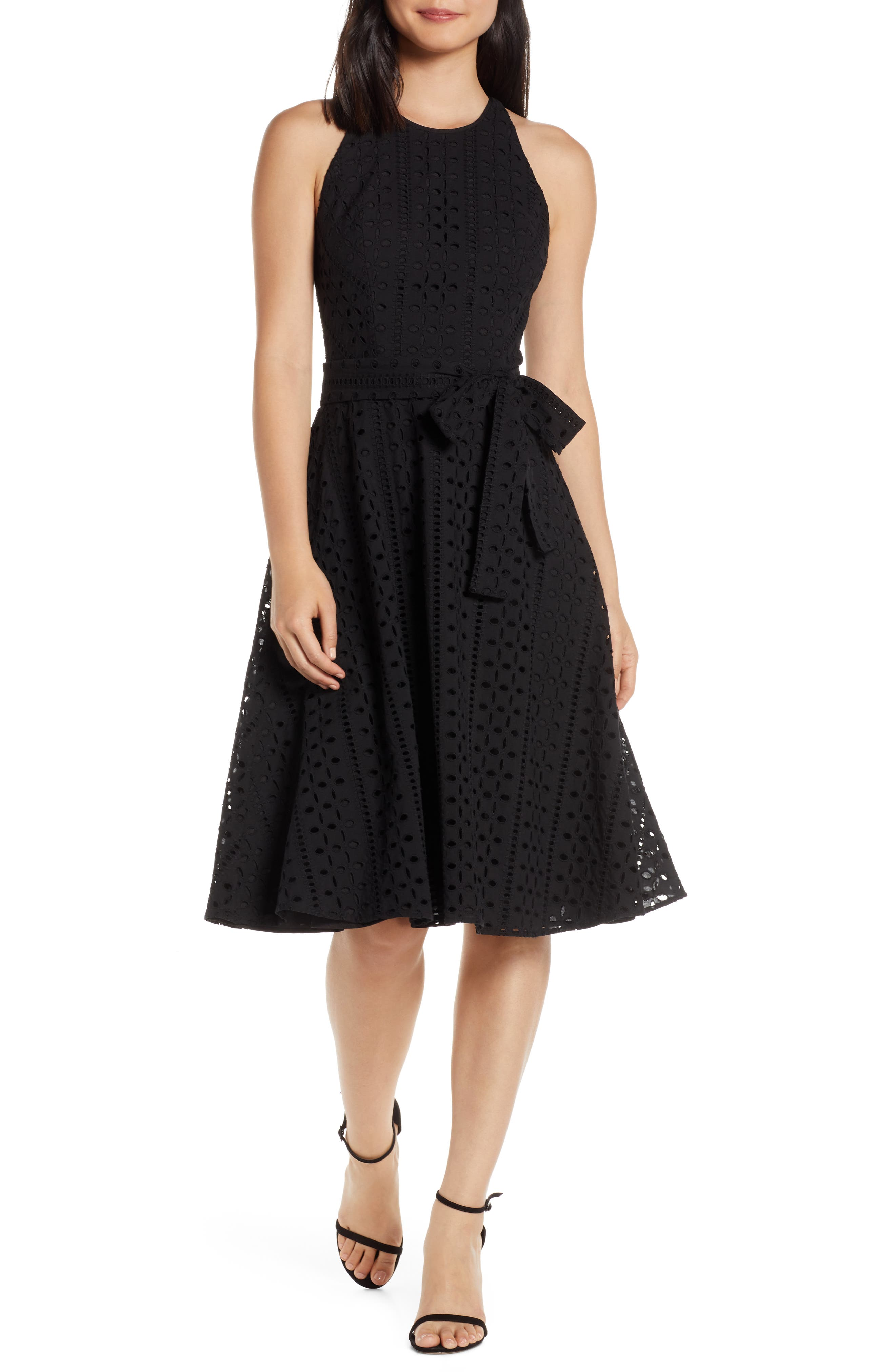 Petite Charles Henry Belted Fit & Flare Eyelet Midi Dress, Black