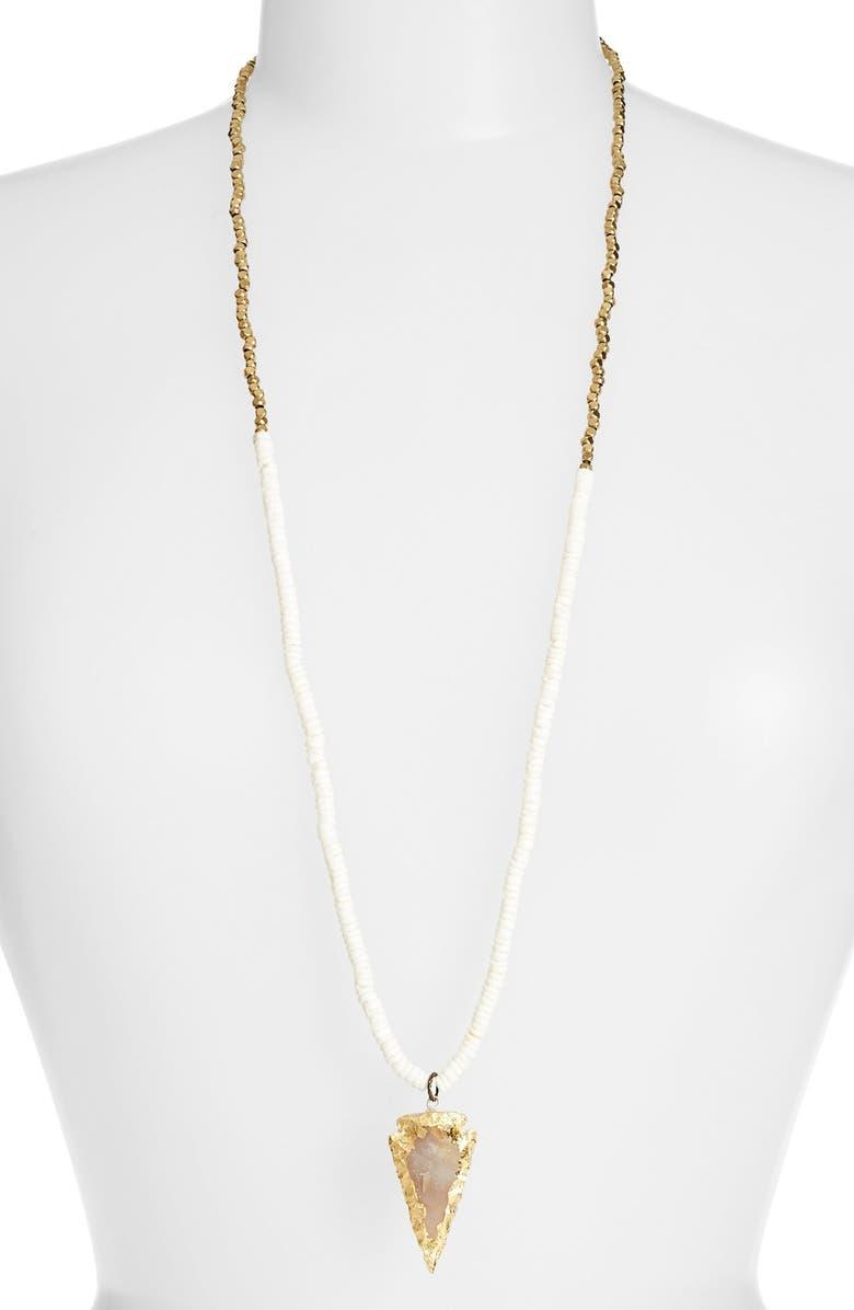LEAD Puka Shell Arrowhead Pendant Necklace, Main, color, 100