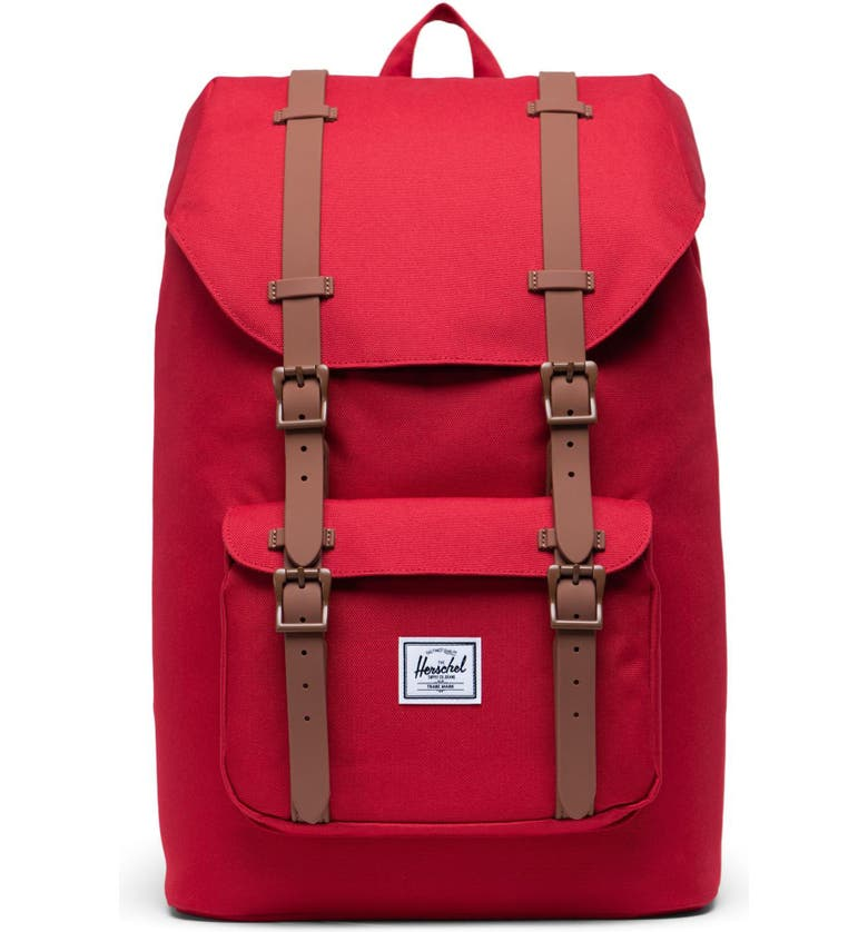 HERSCHEL SUPPLY CO. Little America Mid Volume Backpack, Main, color, RED/ SADDLE BROWN
