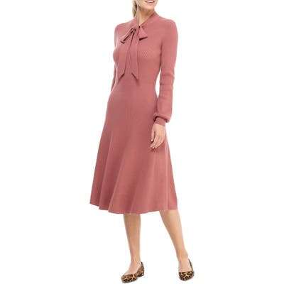 Petite Gal Meets Glam Collection Brianna Tie Neck Long Sleeve Sweater Dress, Pink