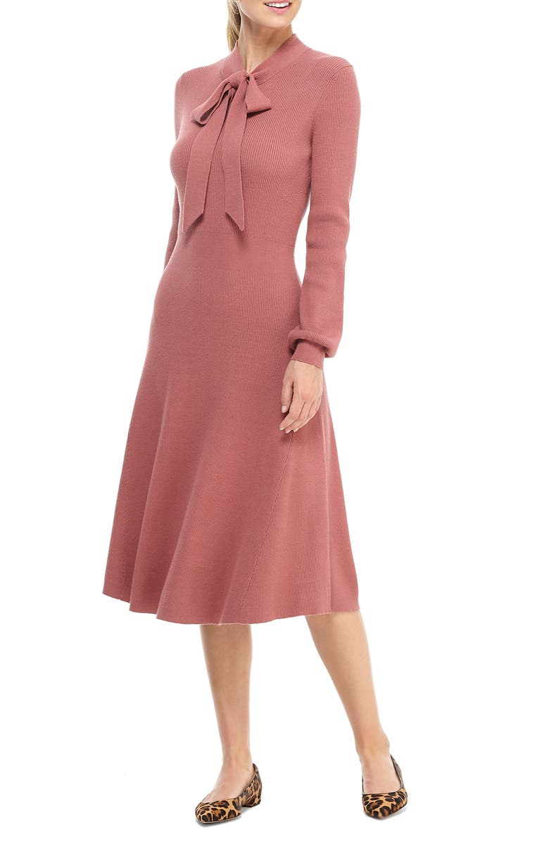 GAL MEETS GLAM COLLECTION Brianna Tie Neck Long Sleeve Sweater Dress, Main, color, RICH PINK