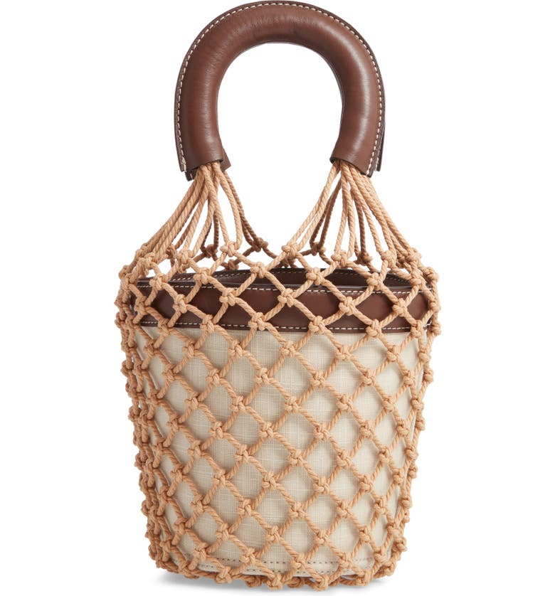 STAUD Moreau Caged Bucket Bag, Main, color, OATMEAL/ CHOCOLATE/ NATURAL