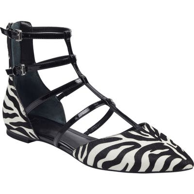 Marc Fisher Ltd Scoutly Strappy Pointy-Toe Genuine Calf Hair Flat- Black