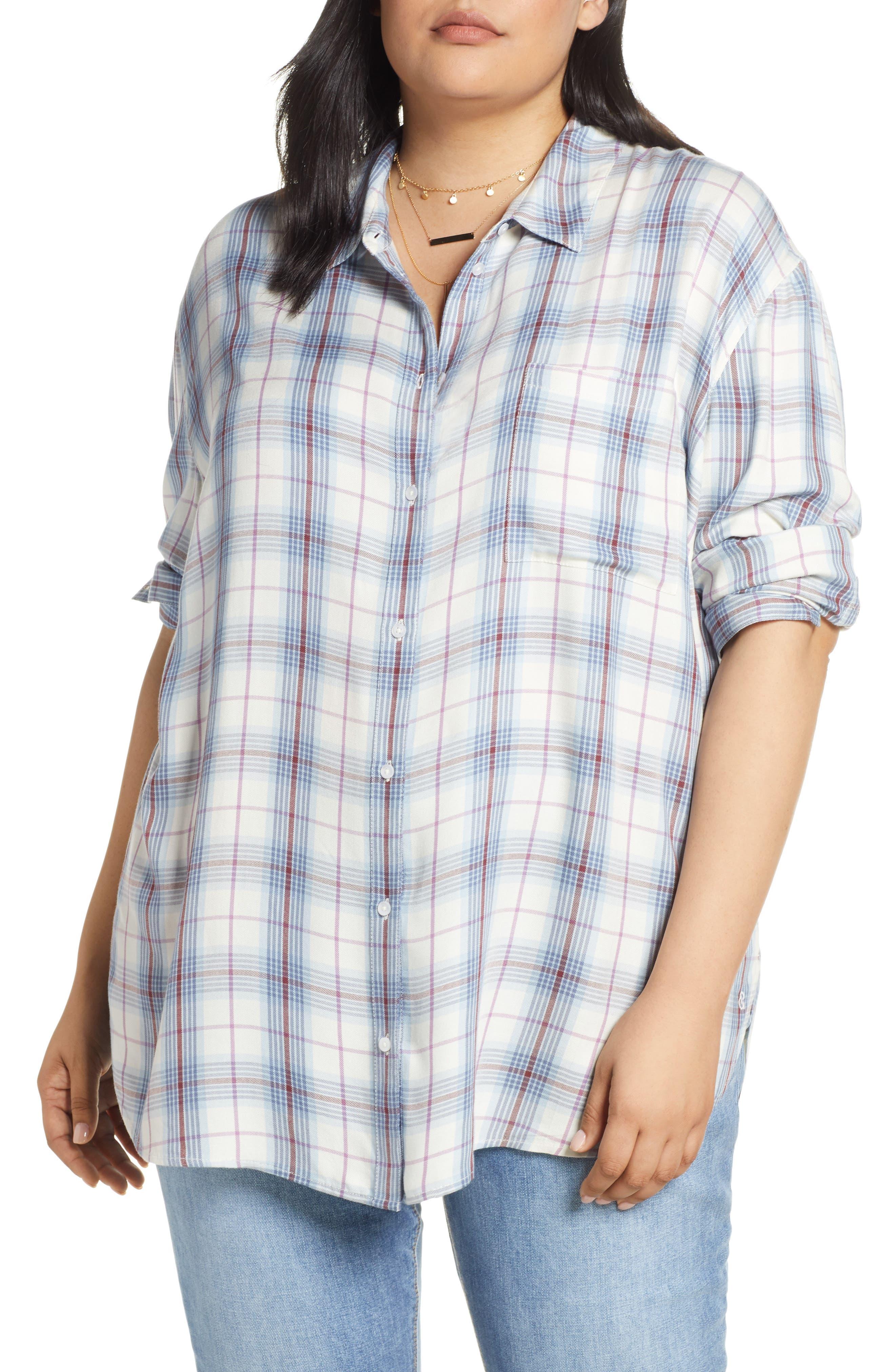 Lightweight Boyfriend Shirt, Main, color, IVORY TARTINE PLAID