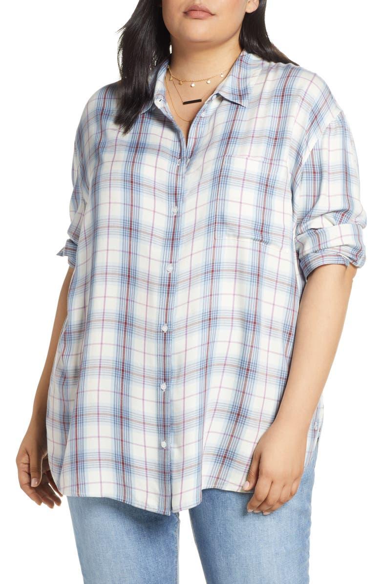 TREASURE & BOND Lightweight Boyfriend Shirt, Main, color, 900