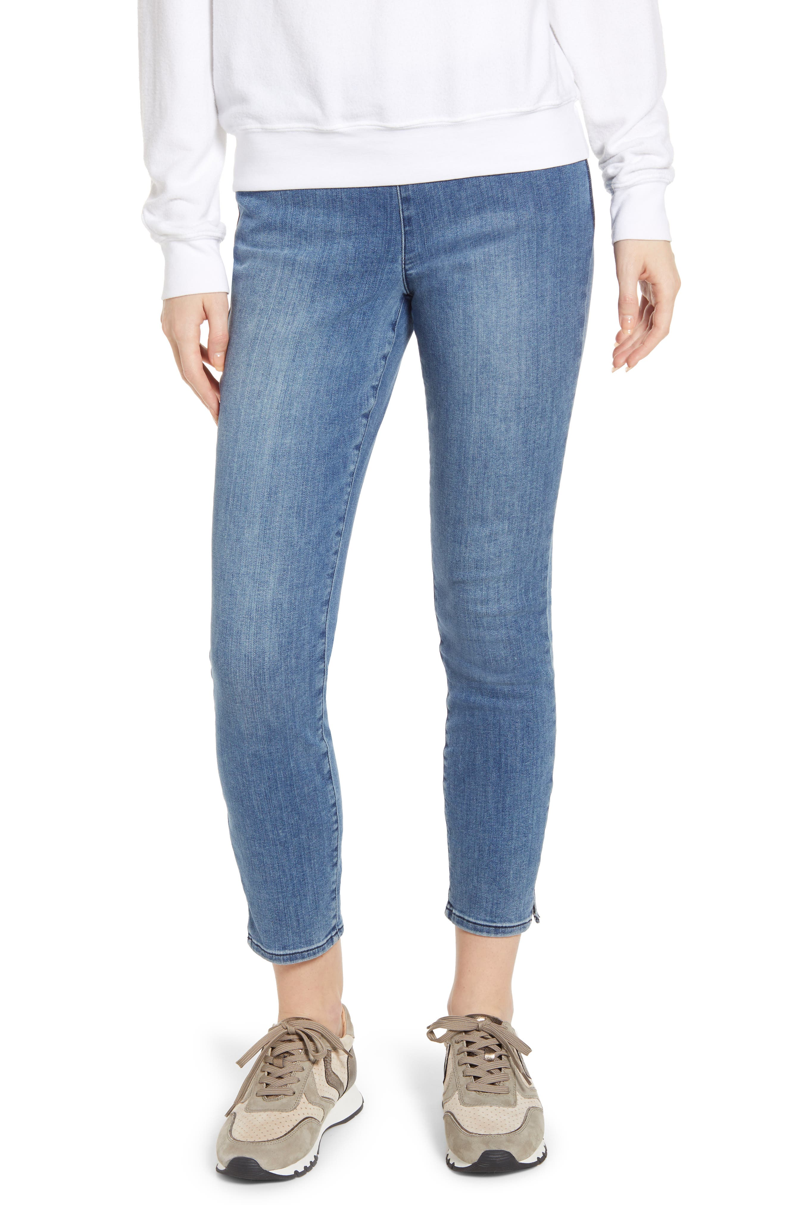 Alina Pull-On Ankle Skinny Jeans, Main, color, AQUINO