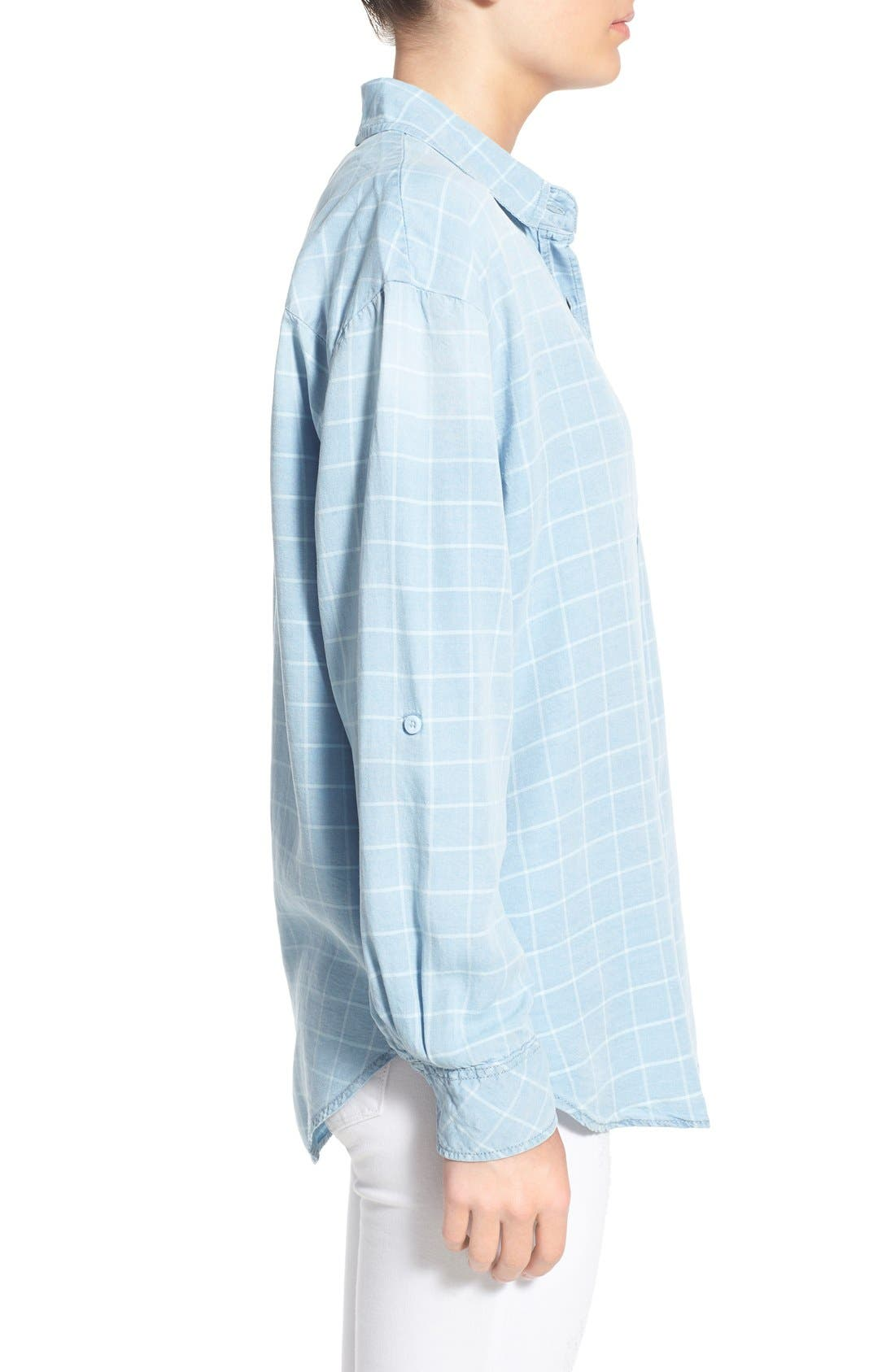 ,                             'Frankie' Check Chambray Button Front Shirt,                             Alternate thumbnail 4, color,                             400