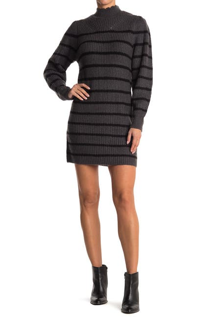 Image of Cloth By Design Lattice Stripe Scalloped Mock Neck Sweater Dress