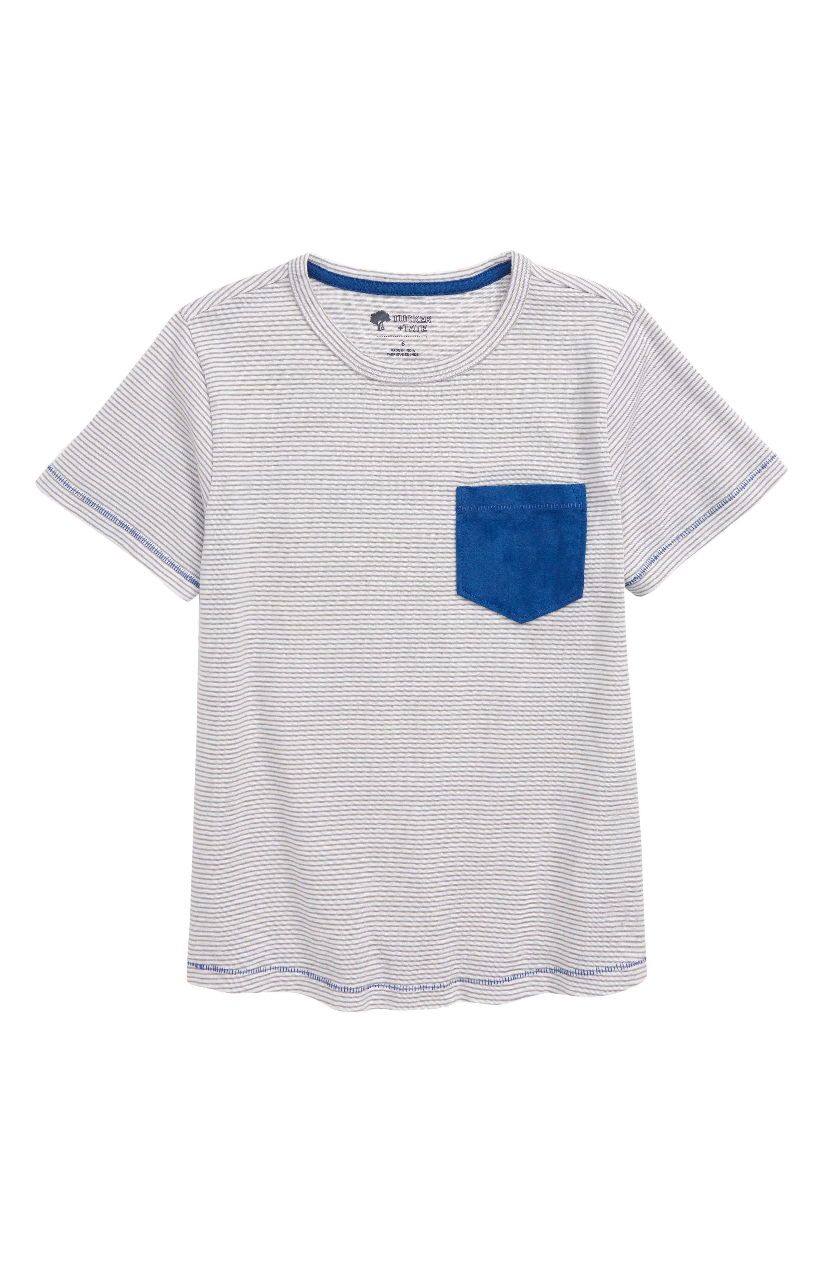 A colorful pocket pops at the chest of a T-shirt made with soft cotton and rings of pale pinstripes. Style Name: Tucker + Tate Kids\\\' Stripe Pocket T-Shirt (Toddler & Little Boy). Style Number: 6027188. Available in stores.