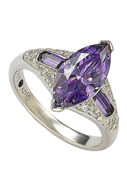 Image of Suzy Levian Sterling Silver Purple CZ Marquise Ring