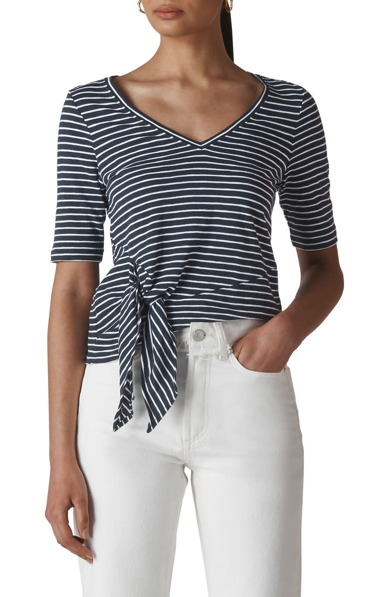 WHISTLES Stripe Side Tie Top, Main, color, 400