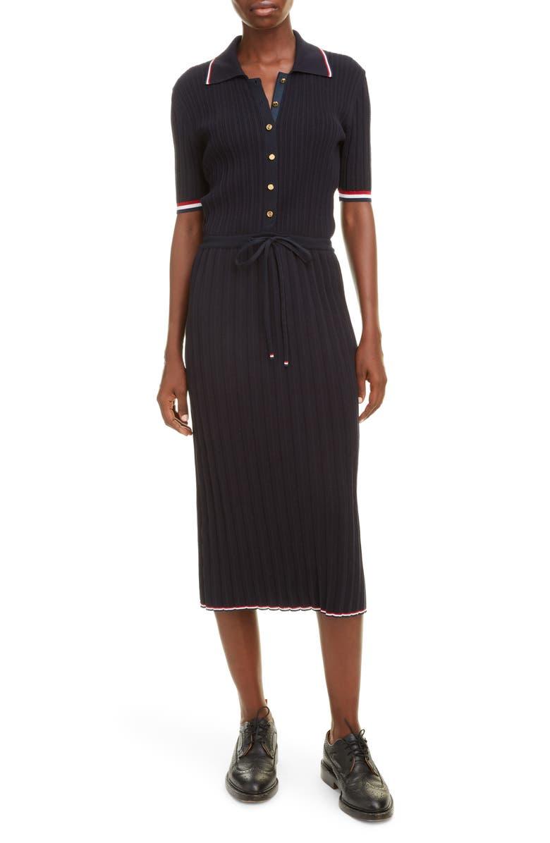 THOM BROWNE Ribbed Polo Midi Dress, Main, color, 400